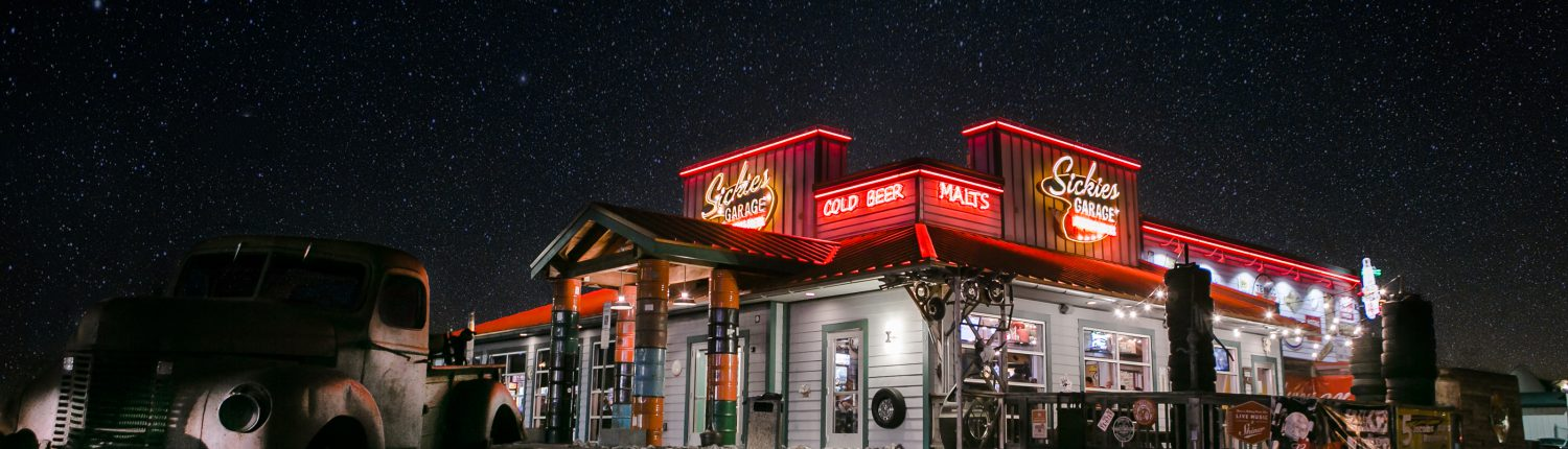 Sickies Garage Burgers & Brews Restaurant - Fargo at Night
