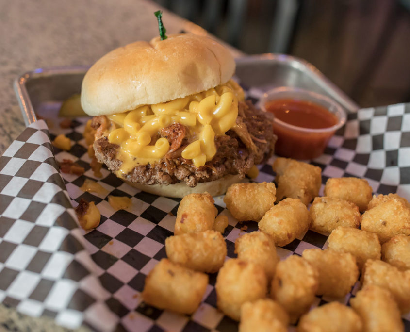Mac and Cheese Burger w/ Pulled Pork and Tots